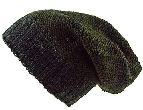 Guru-Shop Beanie Mütze, Strickmütze aus Nepal - Olivgrün/grau, Herren/Damen, Wolle, Size:One Size, Mützen Alternative Bekleidung -