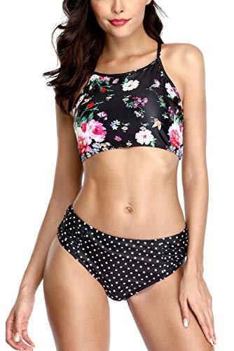 Anfilia Damen Rüschen Bikini Zweiteilige Bademode X-Rücken Bikini Badeanzug Polka Dot Bikini Set Strandbekleidung L -