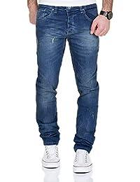 5e20cbc66a MERISH Vaqueros para Hombre Pantalones Straight Fit con Colorido Costuras  Decorativas Casual y Moderno Modell J9148