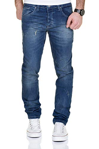 MERISH Jeans Herren Slim Fit Jeanshose Stretch Designer Hose Denim 9148-2100 (34-32, 2100 Blau) -