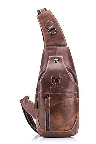 Imagen de weedee  bolso hombre pequeña piel,  de cuero autentico, bolsos de hombro y pecho, bolsos bandolera, bolsa resistentes al agua para escolare ciclismo senderismo marrón  alternativa