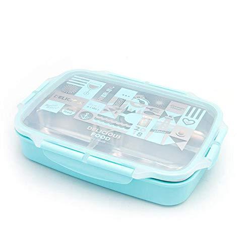 Caja de almuerzo de acero inoxidable Bento con vajilla de dibujos animados Contenedor de comida aislado a prueba de fugas Caja de picnic para estudiantes adultos y niños-YOUZE, azul