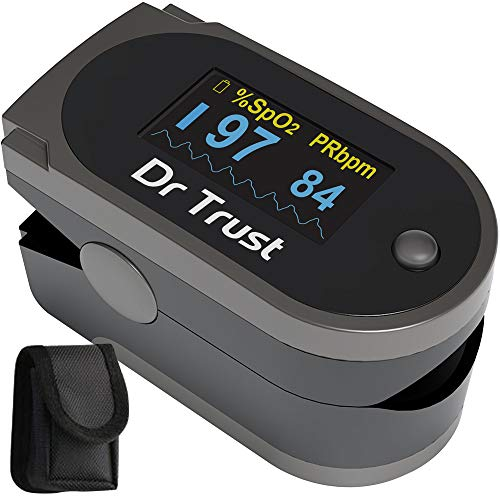 Dr Trust (USA) Finger Tip Pulse Oximeter with Audio Visual Alarm Respiratory Rate - 204 (Grey)