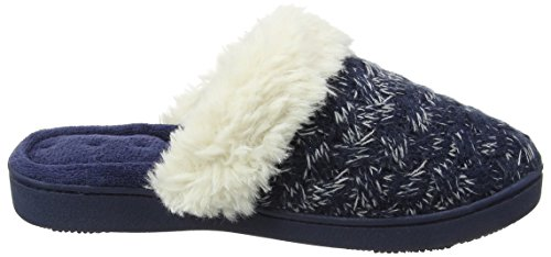 Isotoner Cable Knit Sp/Kle Mule Slippers, Pantofole Donna Blu (Navy And Cream)