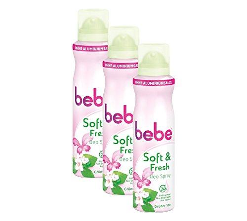 bebe soft & fresh Deo Spray Grüner Tee / Sanftes Deo ohne Aluminium, mit frischem Duft von grünem Tee - 24 h zuverlässiger Schutz vor Körpergerüchen / Ohne Flecken / 3 x 150ml