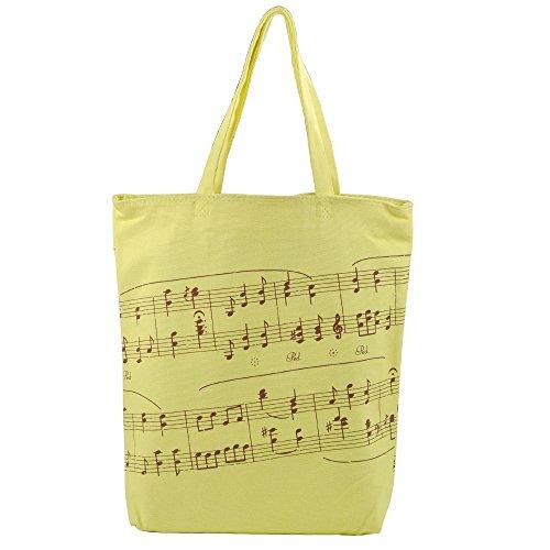 KingPoint Einkaufstasche aus dicker Baumwolle, Handtasche mit Musikmotiv, Notenschlüssel, Noten-Muster gelb