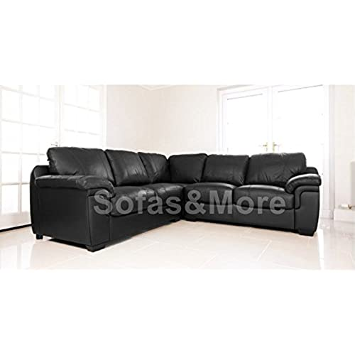 brand new amy corner sofa real leather outstanding quality black