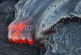 adrium Poster-Bild 70 x 50 cm: Red Hot Lava Flowing Into Pacific Ocean on Big Island, Hawaii, Bild auf Poster
