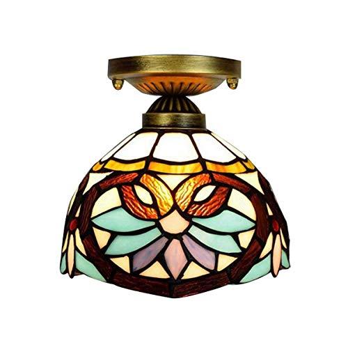 Tiffany Style Deckenleuchte Barock Buntglas Anhänger Deckenleuchten für Gangflur Kleine Kronleuchter Leuchte, 8-Zoll - Barock Deckenleuchte