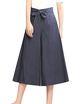 Elegantes Mujer Pantalones Anchos De Vestir Cropped Pantalon Con Cinturón