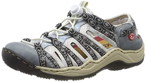 Rieker Damen L0577-12 Sneaker, Blau (Adria/Heaven/Schwarz-Grau/Silverflower 12), 37 EU