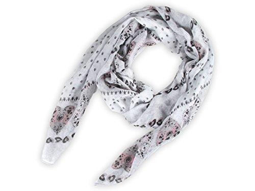 Sciarpa circolare, foulard da donna leggero e morbido estate primavera autunno inverno anello ragazze colorati stola accessorio moderno lifestyle , SCH-667.671:SCH-671d cuori multicolore