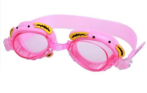 Mzj Kinder Schwimmbrille Anti-Fog UV-Cartoon Schwimmbrille PC Linsen Weichen Silikon Spiegel Gürtel Unisex,Pink -