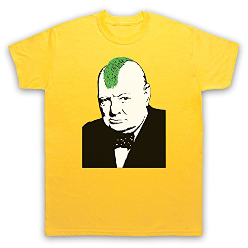 Inspiriert durch Banksy Churchill Punk Graffiti Street Art Unofficial Herren T-Shirt Gelb