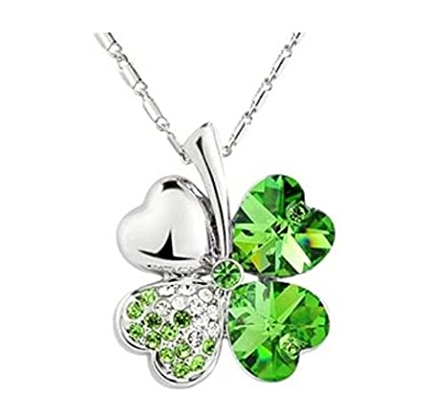 Domire Green Lucky Four Leaf Clover crystal Pendant Neacklace