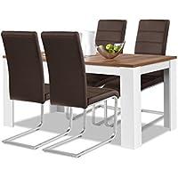 Agionda® Esstisch + Stuhlset : 1 x Esstisch Toledo 140 x 90 Nussbaum / Weiss + 4 Freischwinger Kunstleder PU braun