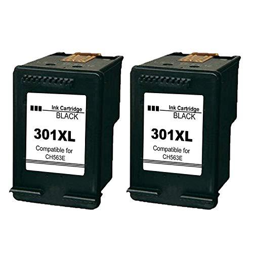 Ksera Remanufacturado HP 301 XL HP 301 Cartuchos de Tinta de Alto Rendimiento Paquete de 2-Negro (CH563EE) Compatible con HP Deskjet 1000 1010 1050 2000 2050 2540 HP Envy 4500 4502