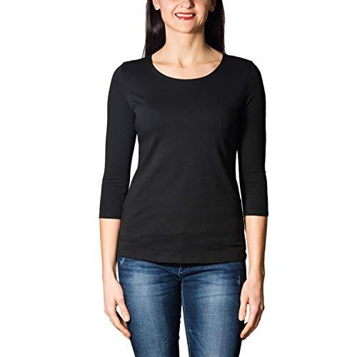 Alkato Damen Shirt 3/4 Arm mit Rundhals, Farbe: Schwarz, Größe: M - Armee Damen-t-shirt