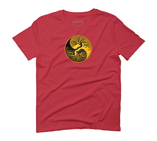 Yellow and Black Tree of Life Yin Yang Men's Graphic T-Shirt - Design By Humans Red
