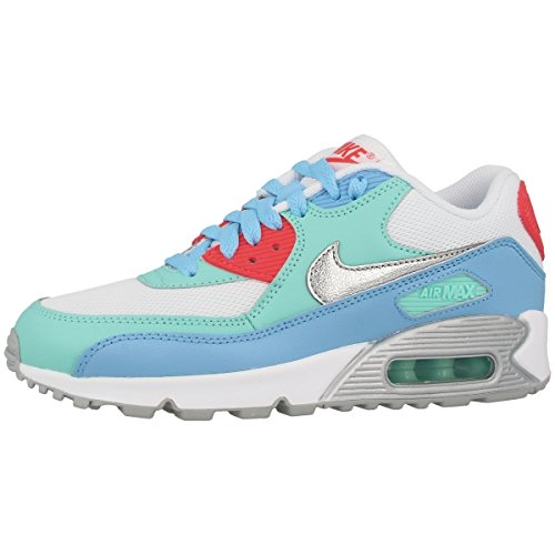 Nike Air Max 90 Mesh (GS) Women Schuhe white-metallic siver-lakeside-artisan teal - 38