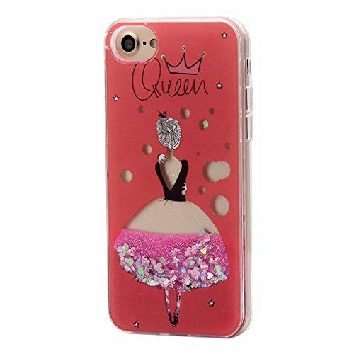 Keyihan iPhone 7/8 Handy Hülle für Mädchen Süß, Niedlich Rosa Style Glänzend Flüssig Glitzeree Treibsand Hart Kunststoff Schutzhülle für Apple iPhone 7 8 (Prinzessin Kleid Mädchen) -