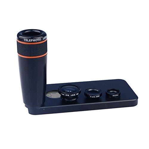 Apexel Schutzhülle in Weitwinkel Makro, Fischauge, 12x ABS Teleobjektiv mit Back Cover Case für iPhone 5/5s-parent, schwarz, 12x schwarz