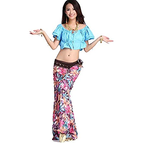 Dancewear Danza del ventre Custome Tribal Puff manica Strap Top & Bohemian Flower Pantaloni