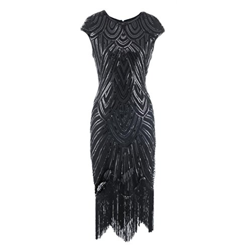 tsby Sequin Art Deco Tassel Hem Flapper Dress Cocktail (Schwarz(Black), XL) (Gatsby Themed Kleid)