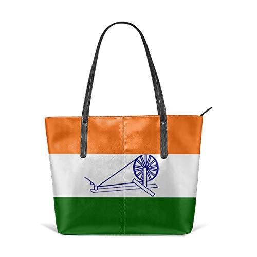 Damen Schultertasche aus weichem Leder Flagge Indiens - Wikipedia Fashion Handbags Satchel Purse