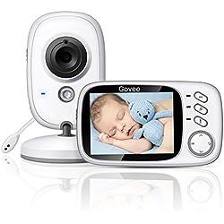 """Vigilabebés Inalambrico, Govee Baby Monitor Inteligente con LCD 3.2"""" y Cámara con Visión Nocturna Intercomunicador de Visión, Babyphone, Video LCD, Monitoreo de Temperatura, Video Vigilan Regalo Perfecto Para Niños y Padres"""