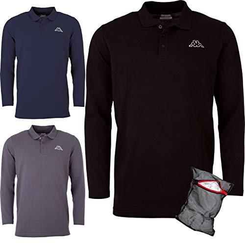Ziatec Kappa Herren Poloshirt Langarm Edition mit Wäschenetz, Größe:M, Farbe:3X Asphalt/grau