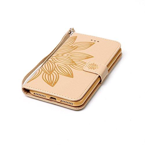 iPhone 7 Plus 5.5 Cover a Libro,iPhone 8 Plus 5.5 Cover Portafoglio,BtDuck Morbido Slim Cover Flip Magnetica Custodia Pelle Borsa e Portafoglio Tasca Progettato Morbido Silicone Back Case Bumper Case  #D Oro