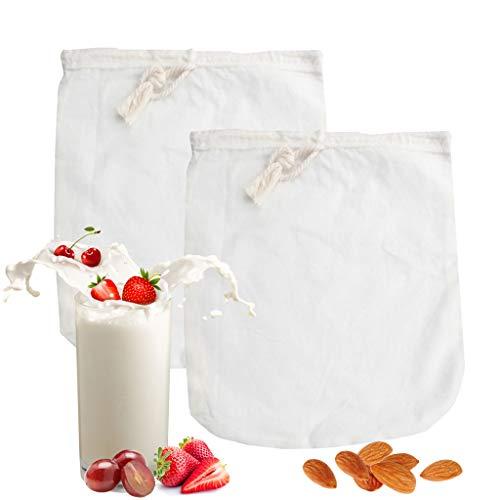 IvyH Bio-Baumwolle Nussmilch Tasche - 2 Pack Obst und Gemüse Säfte Filtertüte,Kaffee,Mandel,Kokosnuss,Soja,Joghurt,Lebensmittel Mesh-Sieb,12
