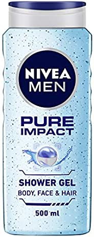 NIVEA Men Body Wash, Pure Impact with Purifying Micro Particles, Shower Gel for Body, Face & Hair, 50