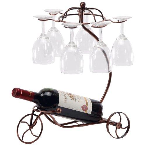 Vintage Pariser Stil Bronze Dreirad 6Wein Glas und Flasche Server Display Rack Table Top Organizer Ständer-MyGift -