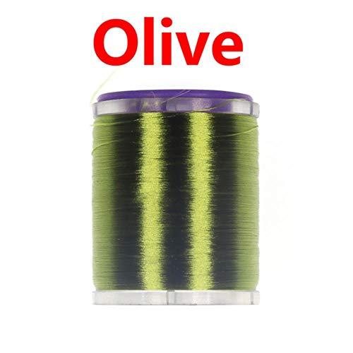 75D Fliegenbindfaden mit Standard-Spulenspule gewachst für Nymphe, trockene Nassfliegen olivgrün -
