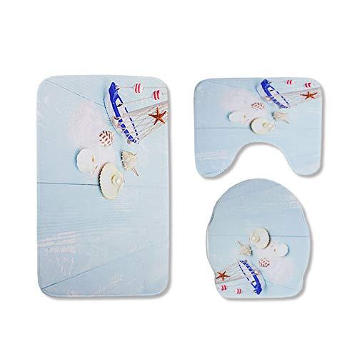 Zyzmll Seashell Conch 3 Badezimmer Teppich Set Rutschfeste Badezimmer Matte WC Bezug,A