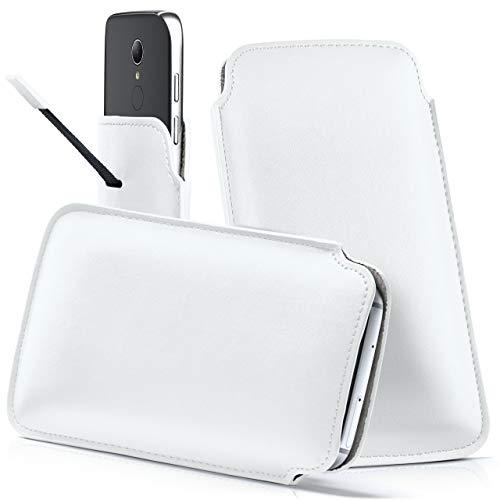 moex HP Elite x3 | Hülle Weiß Sleeve Slide Cover Ultra-Slim Schutzhülle Dünn Handyhülle für HP Elite x3 Case Full Body Handytasche Kunst-Leder Tasche