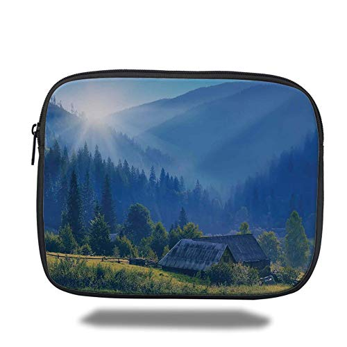 Tablet Bag for Ipad,Farm House Decor,Mountain Village in Ukraine Rising Sun Pine Trees Forest Wooden House Nostalgic Photo,Green Blue,Bag,Size:13inch (15 Zoll Mountain Bike)