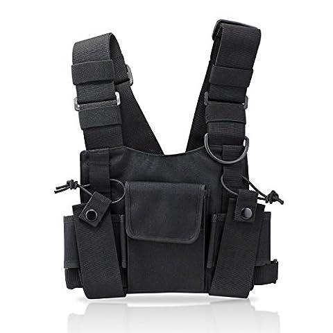 KEESIN Radio Walkie Talkie poche poitrine Harnais Sacs à dos pack Holster Radios bidirectionnelles Carry Case Holder Accessoire (Type B)