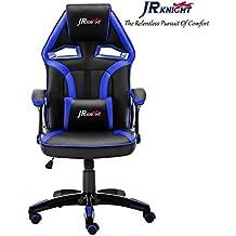 JR Knight - Silla estilo deportivo, oficina en casa, gaming, silla giratoria exclusiva de piel, color Black&Blue