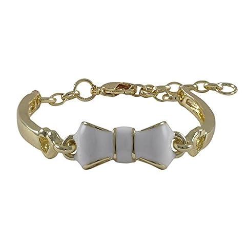 Kleine Schätze - Weiß Emaille Bogen, Vergoldet Armreif Armband Armband, 4