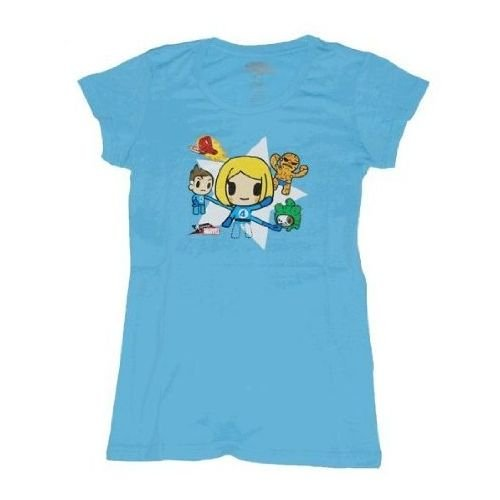 Tokidoki X Marvel Fantastic Four Juniors/Womens Baby Blue T-Shirt   L (Baby T-shirt Blue Womens)