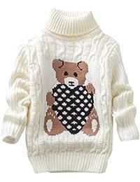 Chenqi Unisex Niños Navidad Blusa de Jersey de Cuello Alto de Manga Larga suéter