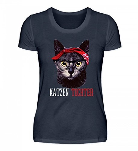 Hochwertiges Damen Organic Shirt - Katzen Tochter Lustiges Vintage Mieze Kätzchen mit Bandana T-Shirt Geschenk Damen (Bandana Kitty)
