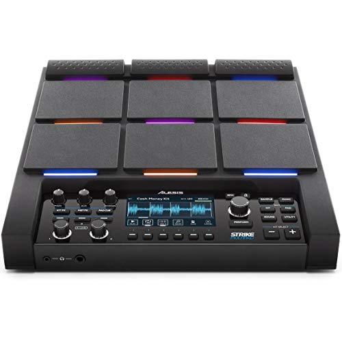 Alesis Strike Multipad - Perkussions-Pad mit 9 RGB-hintergrundbeleuchteten Pads, Sampler, Looper, integrierter Soundkarte mit Ein-und Ausgängen, 4,3-Zoll-Display, Laden von Samples über USB-Laufwerke