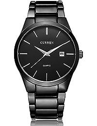 Voeons Men's Black Steel Casual Watch With Calendar 8106