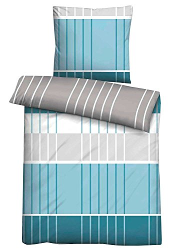 Linon-Wendebettwäsche Bettbezug Bettwäschegarnitur MENDOCINO 11 | 2-teilig | 135 x 200 cm | Baumwolle | Blau
