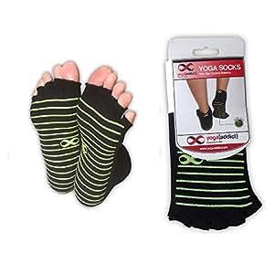 YogaAddict Toeless Socks Yoga, Pilates, Dance, Barre, Half Toe with Grips, 1 Pair Set, Anti Slip Non Skid, Black (Green Grip Lines), size S/M