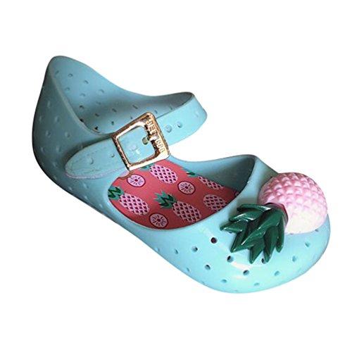 CHENGYANG Enfant Filles Dessin Animé Ananas Semelle Souple Sandales Etudiant Décontractée Creux Chaussures de Gelée Vert Foncé